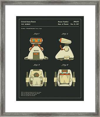Robot Patent 1987 Framed Print by Jazzberry Blue