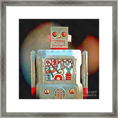 Robot Pop Art R-1 Framed Print by Edward Fielding