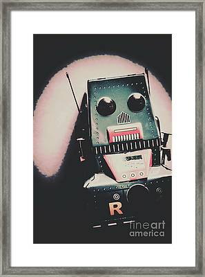 Robotic Mech Under Vintage Spotlight Framed Print by Jorgo Photography - Wall Art Gallery
