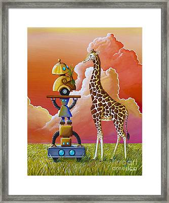 Robots On Safari Framed Print by Cindy Thornton