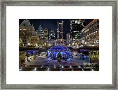 Robson Square At Night Framed Print by Victor Andre