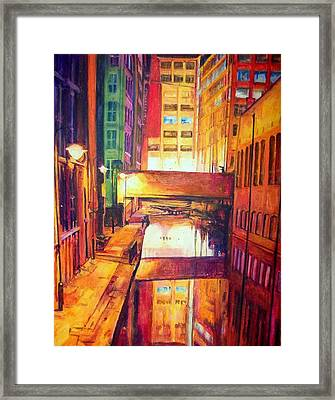 Rochdale Canal With Lock At Night Framed Print