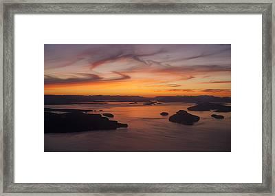 Roche San Juan Islands Aerial Sunset Framed Print by Mike Reid