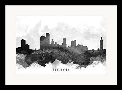 Rochester Skyline Framed Prints