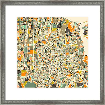 Rochester Map Framed Print by Jazzberry Blue