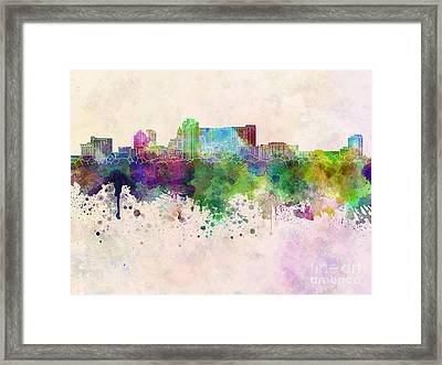Rochester Mn Skyline In Watercolor Background Framed Print by Pablo Romero