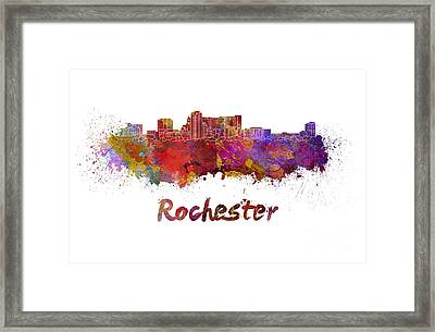 Rochester Mn Skyline In Watercolor Framed Print by Pablo Romero
