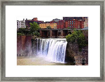 Rochester New York High Falls Expressionist Effect Framed Print