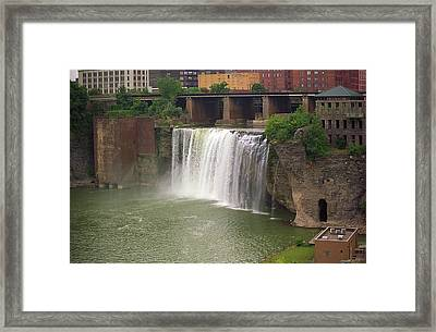Framed Print featuring the photograph Rochester, New York - High Falls by Frank Romeo