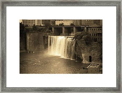 Framed Print featuring the photograph Rochester, New York - High Falls Sepia by Frank Romeo