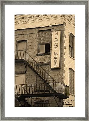 Framed Print featuring the photograph Rochester, New York - Jimmy Mac's Bar 2 Sepia by Frank Romeo