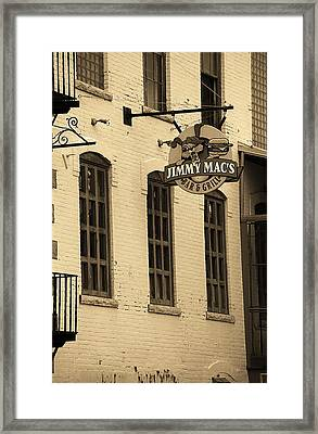 Framed Print featuring the photograph Rochester, New York - Jimmy Mac's Bar 3 Sepia by Frank Romeo