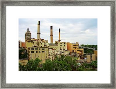 Rochester, Ny - Factory And Smokestacks 2005 Framed Print by Frank Romeo