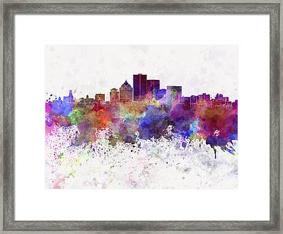 Rochester Ny Skyline In Watercolor Background Framed Print by Pablo Romero