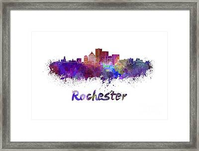 Rochester Skyline In Watercolor Framed Print by Pablo Romero