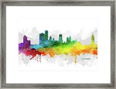 Rochester Skyline Mmr-usnyro05 Framed Print by Aged Pixel