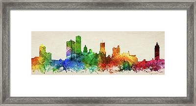 Rochester Skyline Panorama Usnyro-pa03 Framed Print