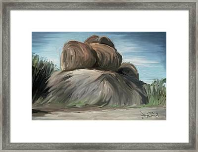 Framed Print featuring the painting Rock Adventure by Wayne Pascall