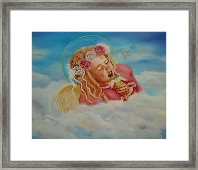 Framed Print featuring the painting Rock And Roll Angel by Joni McPherson
