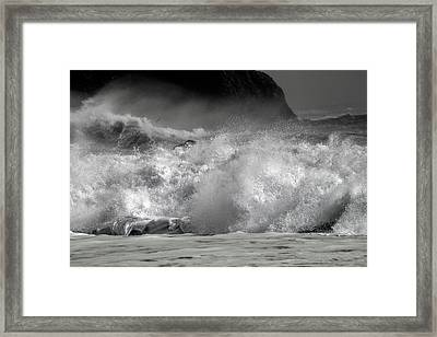 Rock And Roll Black Sand Beach Iceland Framed Print
