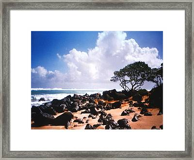 Rock And Sand Framed Print by Diane Merkle