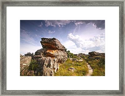 Rock And Sky Landscape Photograph With Footpath At Kaapsehoop Framed Print by Jan Van der Westhuizen