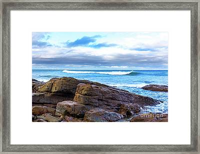Framed Print featuring the photograph Rock And Wave by Perry Webster