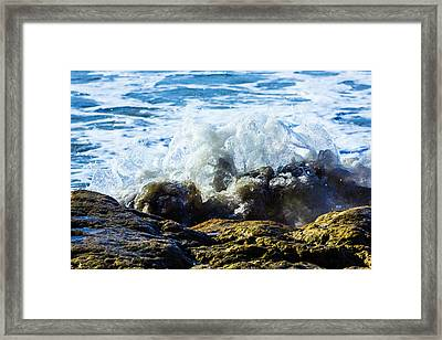 Wave Meets Rock Framed Print