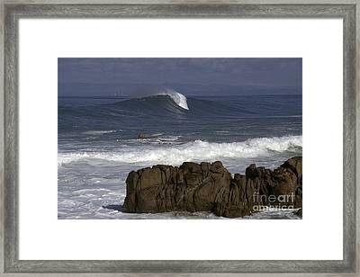 Rock And Wave Framed Print by Stan and Anne Foster