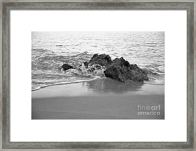 Rock And Waves In Albandeira Beach. Monochrome Framed Print