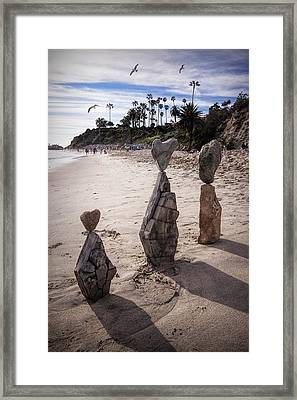 Rock Art Installation On Laguna Beach Framed Print