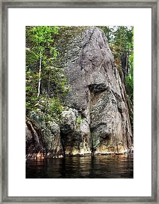 Rock Cliff At Ukonvirta Framed Print