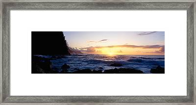 Rock At The Coast, Na Pali Coast Framed Print by Panoramic Images