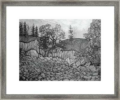 Framed Print featuring the drawing Rock Beach by John Stuart Webbstock