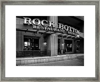 Rock Bottom Restaurant And Brewery In Black And White Framed Print by Greg Mimbs