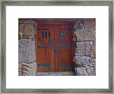 Framed Print featuring the photograph Rock Building Doors by Tammy Sutherland