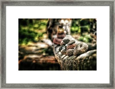 Rock Cairn At Buddha Beach Sitting On Tree Branch - Sedona Framed Print