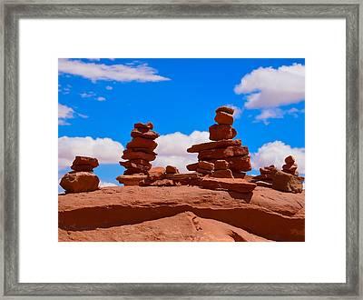 Rock Cairns In The Desert Framed Print