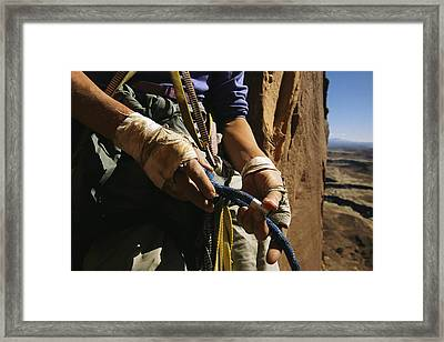 Rock Climber Becky Halls Wrapped Hands Framed Print by Bill Hatcher