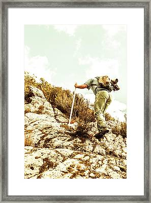 Rock Climbing Mountaineer Framed Print by Jorgo Photography - Wall Art Gallery