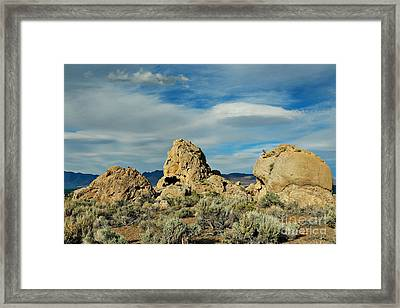 Rock Formations At Pyramid Lake Framed Print by Benanne Stiens