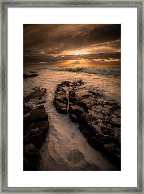 Rock Formations On The Shore Framed Print