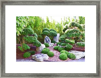 Rock Garden Area In The Japanese Garden Framed Print