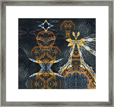 Framed Print featuring the digital art Rock Gods Lichen Lady And Lords by Nancy Griswold