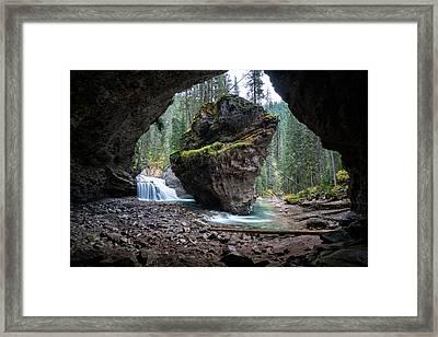 Rock In Johnston Canyon Framed Print