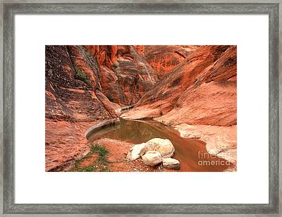 Rock In The Red Canyon Framed Print