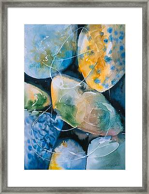 Framed Print featuring the painting Rock In Water by Allison Ashton