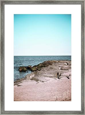 Framed Print featuring the photograph Rock Jetty by Colleen Kammerer