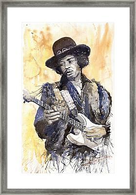 Rock Jimi Hendrix 01 Framed Print by Yuriy  Shevchuk