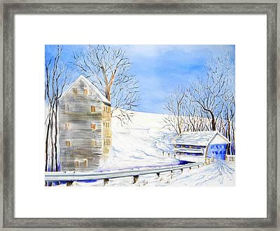 Rock Mill In Winter Framed Print